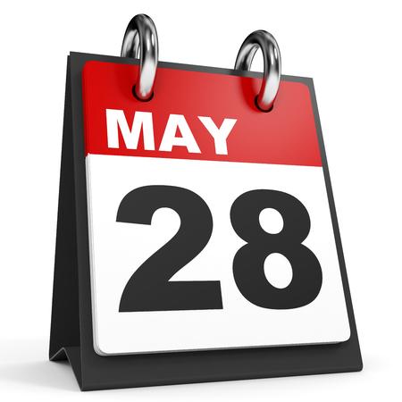 28: May 28. Calendar on white background. 3D illustration.