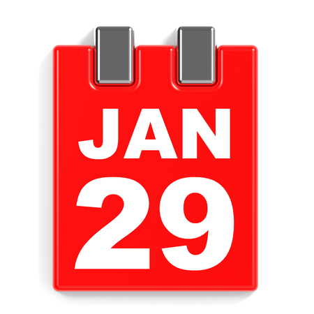 ninth: January 29. Calendar on white background. 3D illustration.