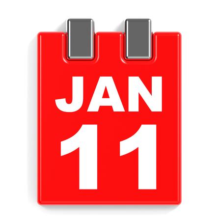 January 11. Calendar on white background. 3D illustration.