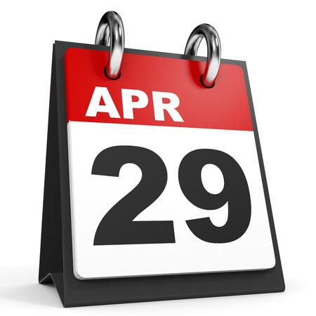twenty ninth: April 29. Calendar on white background. 3D illustration. Stock Photo