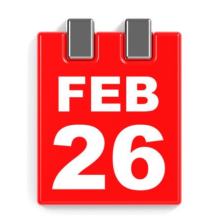 February 26. Calendar on white background. 3D illustration.
