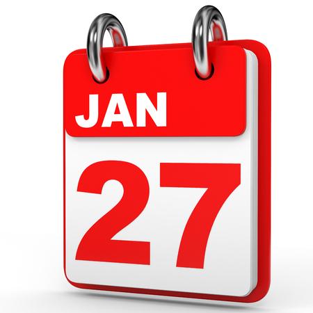27: January 27. Calendar on white background. 3D illustration.