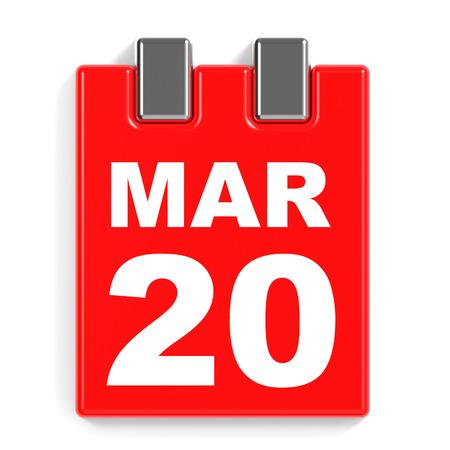 March 20. Calendar on white background. 3D illustration.