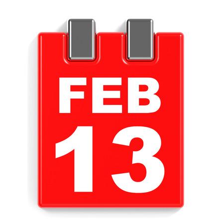 February 13. Calendar on white background. 3D illustration. Stock Photo