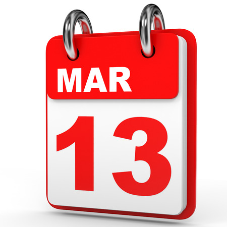 March 13. Calendar on white background. 3D illustration.