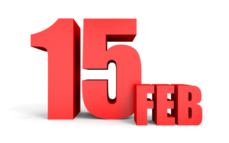 fifteen: February 15. Text on white background. 3d illustration.