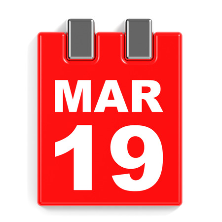 March 19. Calendar on white background. 3D illustration. Stock Photo
