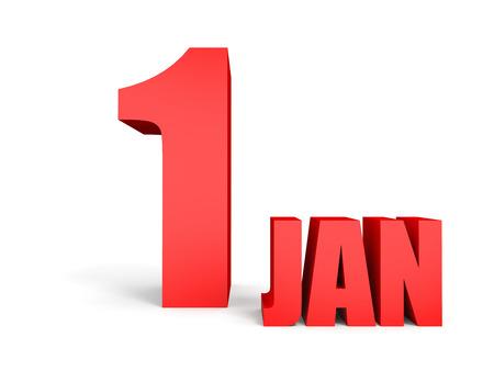 january 1: January 1. Text on white background. 3d illustration.