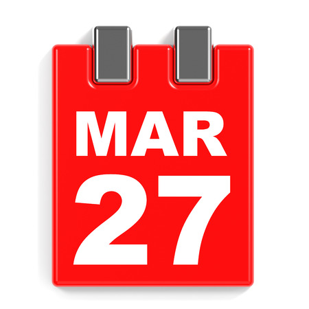 March 27. Calendar on white background. 3D illustration. Stock Photo
