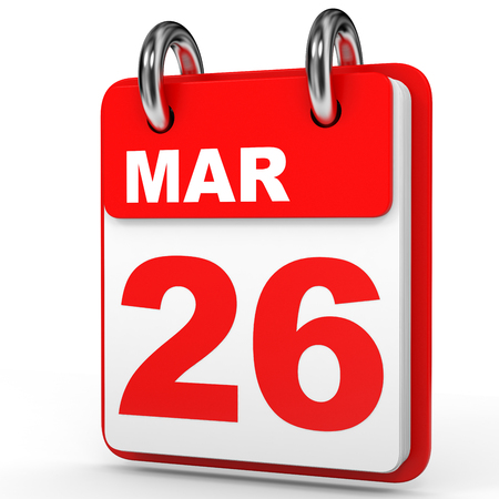 March 26. Calendar on white background. 3D illustration. Stock Photo
