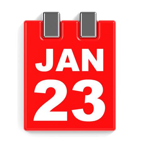 January 23. Calendar on white background. 3D illustration. Stock Photo