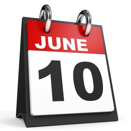 tenth: June 10. Calendar on white background. 3D illustration.