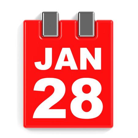 January 28. Calendar on white background. 3D illustration.