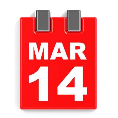 14: March 14. Calendar on white background. 3D illustration.