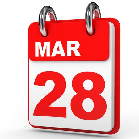 March 28. Calendar on white background. 3D illustration.