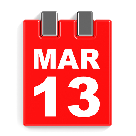 13th: March 13. Calendar on white background. 3D illustration.