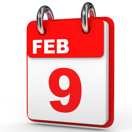 9th: February 9. Calendar on white background. 3D illustration. Stock Photo