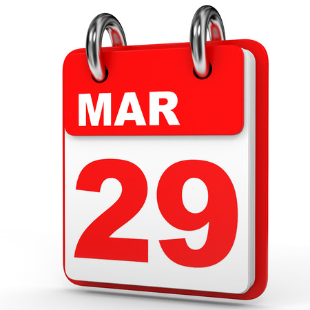 March 29. Calendar on white background. 3D illustration.