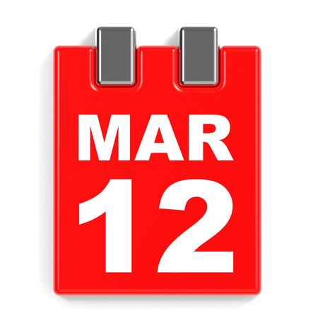 12: March 12. Calendar on white background. 3D illustration.