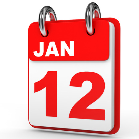 a 12: January 12. Calendar on white background. 3D illustration. Stock Photo