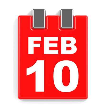 tenth: February 10. Calendar on white background. 3D illustration.