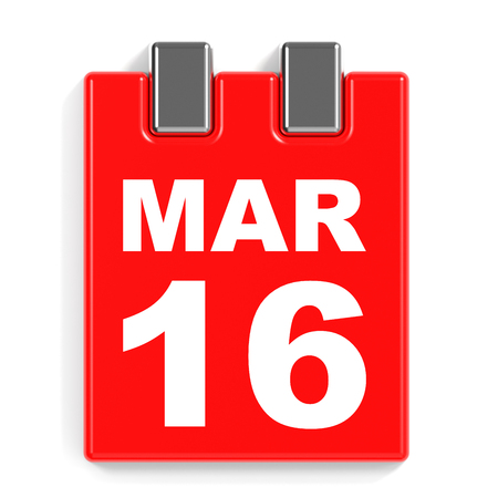 March 16. Calendar on white background. 3D illustration.