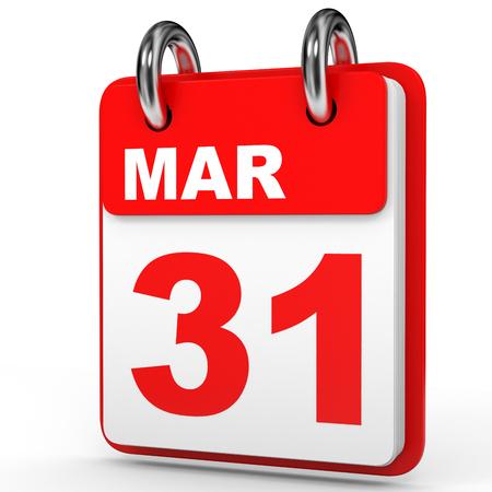 March 31. Calendar on white background. 3D illustration. Stock Photo