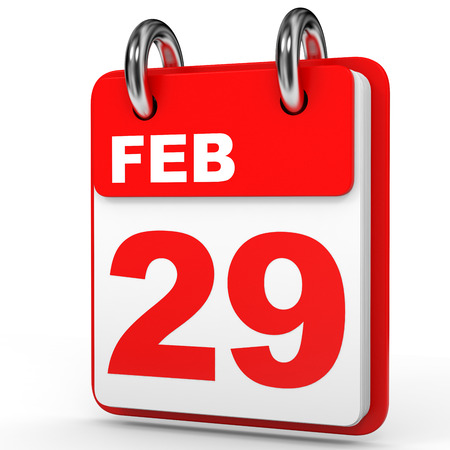 ninth: February 29. Calendar on white background. 3D illustration.