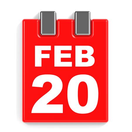 February 20. Calendar on white background. 3D illustration.