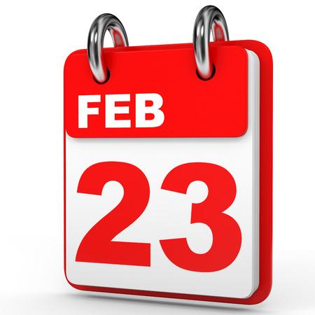February 23. Calendar on white background. 3D illustration.