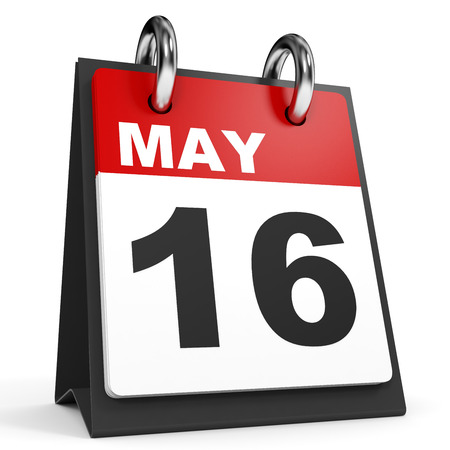 sixteenth note: May 16. Calendar on white background. 3D illustration. Stock Photo