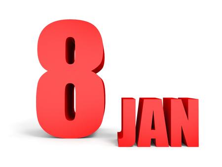 January 8. Text on white background. 3d illustration. Stock Photo