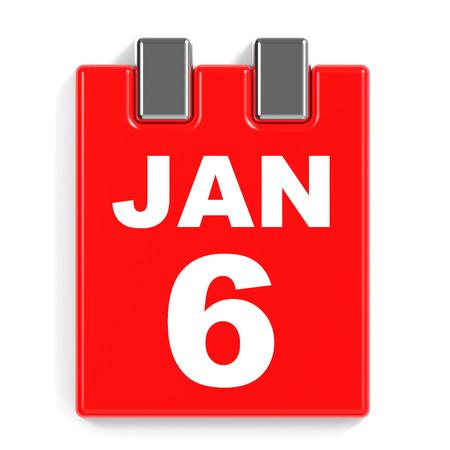 January 6. Calendar on white background. 3D illustration.