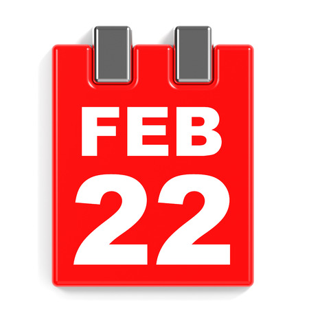 February 22. Calendar on white background. 3D illustration.