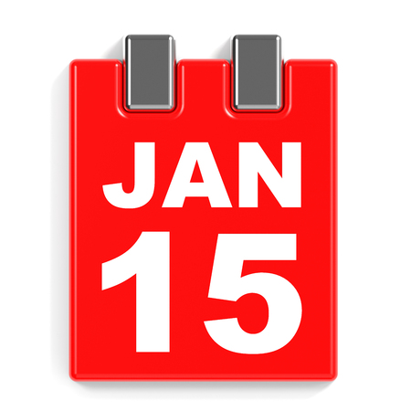 fifteenth: January 15. Calendar on white background. 3D illustration.