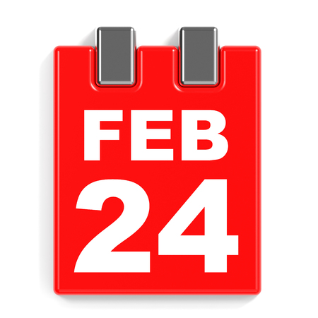 February 24. Calendar on white background. 3D illustration.