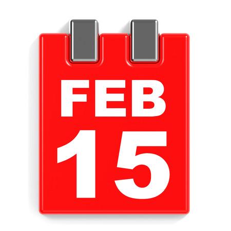 February 15. Calendar on white background. 3D illustration. Stock Photo