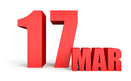 march 17: March 17. Text on white background. 3d illustration. Stock Photo