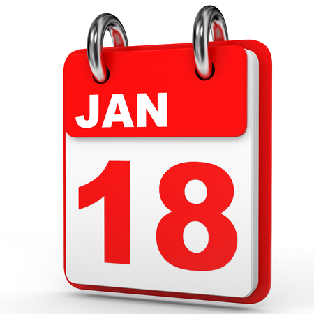 January 18. Calendar on white background. 3D illustration.