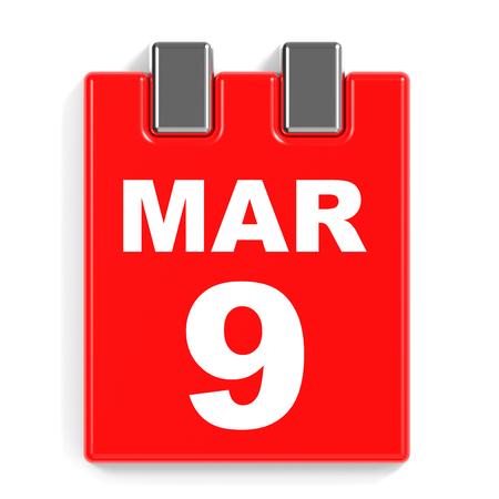March 9. Calendar on white background. 3D illustration. Stock Photo