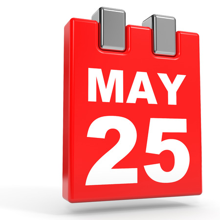 May 25. Calendar on white background. 3D illustration.