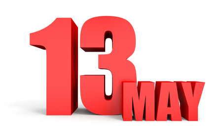 May 13. Text on white background. 3d illustration. Stock Photo