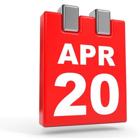 April 20. Calendar on white background. 3D illustration.