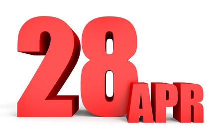 April 28. Text on white background. 3d illustration. Stock Photo