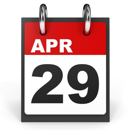 29: April 29. Calendar on white background. 3D illustration. Stock Photo