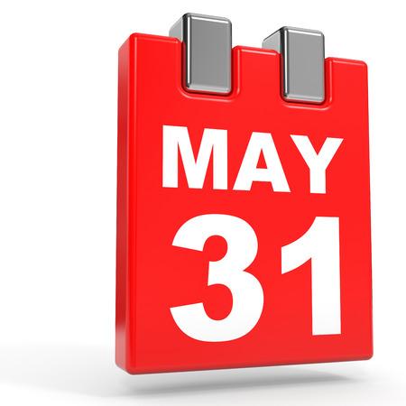 31st: May 31. Calendar on white background. 3D illustration.