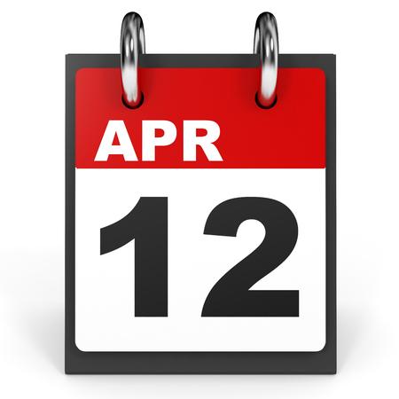 12: April 12. Calendar on white background. 3D illustration.