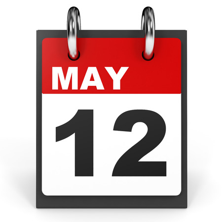 a 12: May 12. Calendar on white background. 3D illustration.