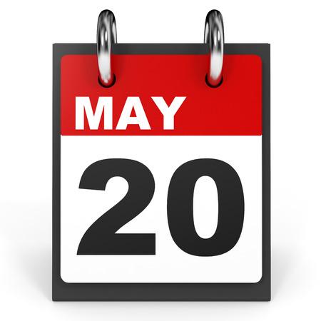 May 20. Calendar on white background. 3D illustration.