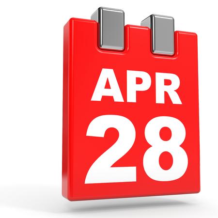 April 28. Calendar on white background. 3D illustration. Stock Photo